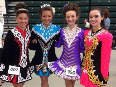 four young women compete in FEIS dance competition