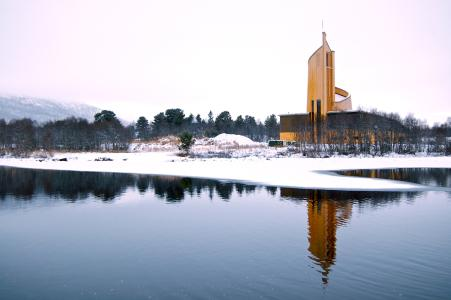 Geilo culture church in winter view from the otherside of the river