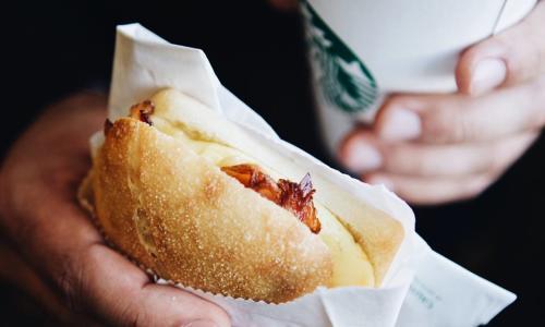 Starbucks Cafe, The Saratoga Hilton, breakfast sandwich and coffee
