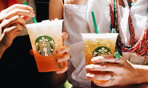 Starbucks Cafe, The Saratoga Hilton, two women holding iced drinks
