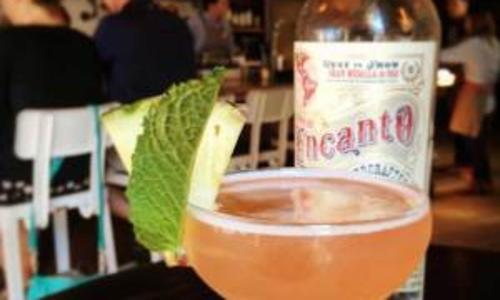 Hamlet and Ghost drink with mint on rim