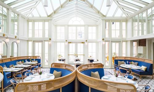 The Blue Hen dining room with bright sky