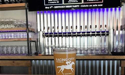 Racing City Brewing Beer Glass and Board