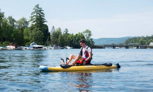 Lake George guy on inflatable kayak