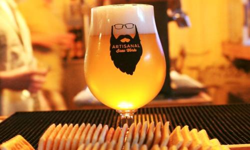 Artisinal Brew Works beer with crackers