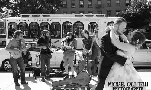 Metroland Photo B&W Couple with Trolley