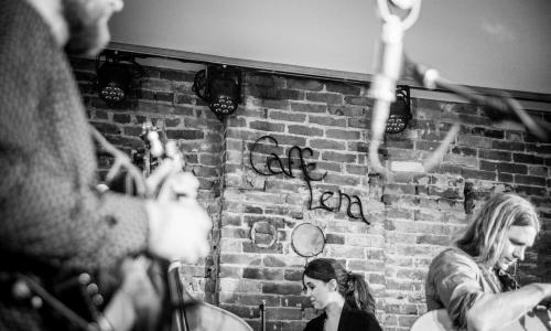 Caffe Lena band shot B&W