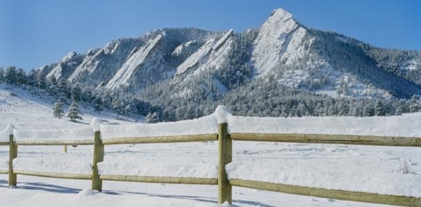 Winter Flatirons with fence