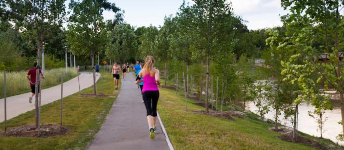 Jogger at Buffalo Bayou Park
