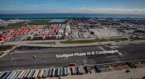 Aerial image looking east of the new cargo container yard in Southport.