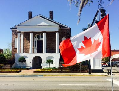 Downtown Conway with Canadian Flag