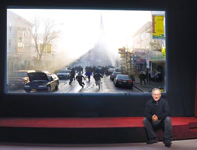 Man Sitting by Picture in Newark
