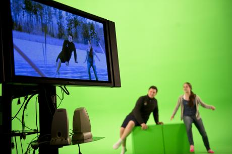 Playing with a green screen at the Imagine RIT Festival