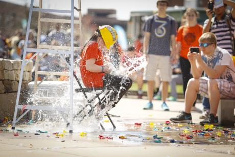 Girl gets splashed with water at Imagine RIT in Rochester, NY