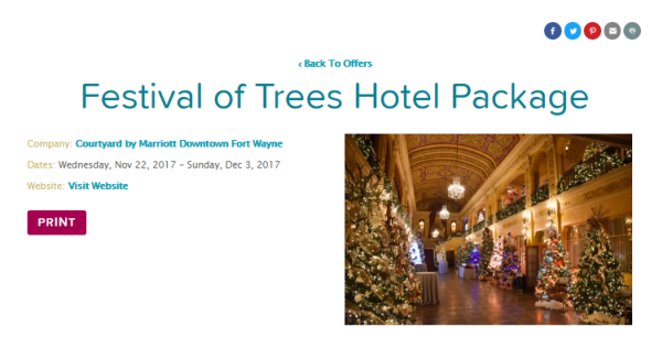 Festival of Trees Holiday Hotel Package - Fort Wayne, IN - Courtyard, IN