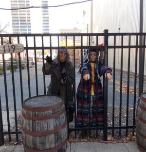A couple of zombies lose their way and end up trapped behind a fence on Columbia Street. Did they escape? Find out at this year's Zombie Walk on Saturday, Oct. 21.