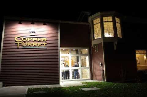 Copper Turret Exterior at Night