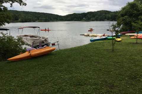 Kayaking in Reservoir