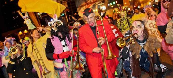 Musicians play at North Halsted Halloween Parade in Chicago