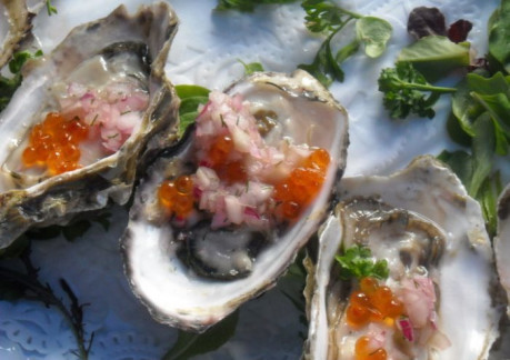 85P3Raw oyster with pickled cucumber red onion and golden trout row.jpg