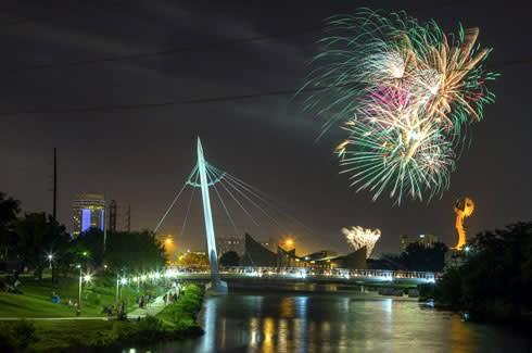 Fireworks Over The Arkansas River
