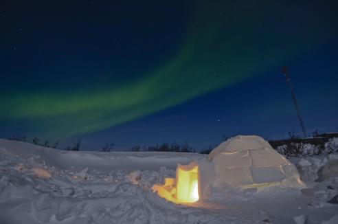 Northern lights over an igloo in Churchill, Manitoba