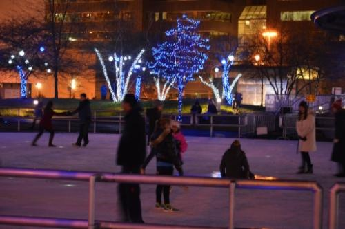 Rosa Parks ice skating holiday lights downtown