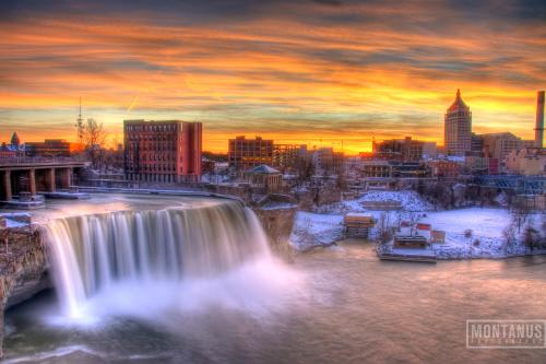96 ft waterfall in the center of downtown Rochester, NY