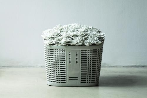 Bicycle Basket with Flowers in Porcelain