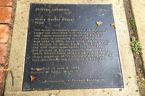 Henry Gerber plaque in Chicago