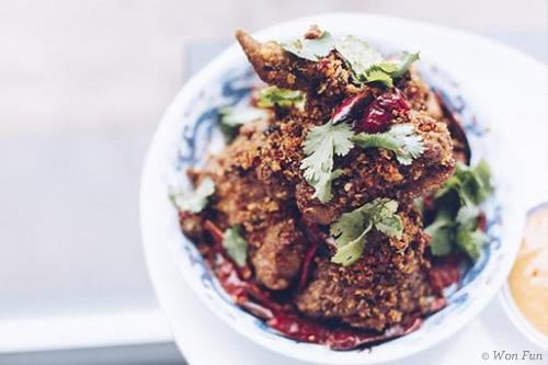 Crispy chicken in a bowl