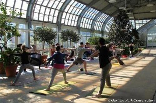 group doing yoga at Garfield Park Conservatory