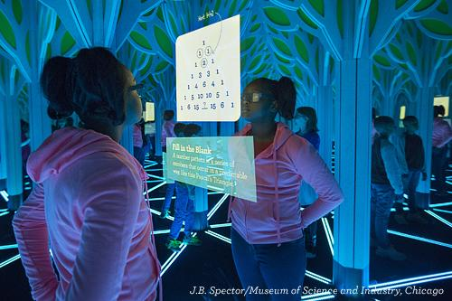 Girl Looking at  A Mirror Maze at Museum of Science and Industry Chicago