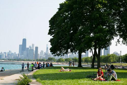 Lakefront Trail with a view of downtown Chicago