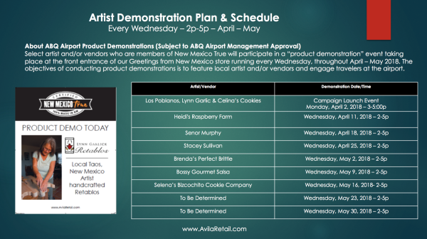 Avila Product Demonstration Schedule