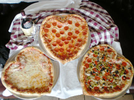 A heart shaped pie for those that really love pizza! (Photo courtesy of Pizza D' Oro)