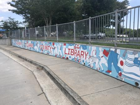 A mural for the public library using red and blue as the main colors.