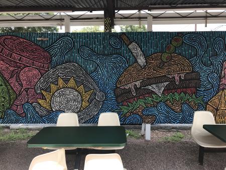 Mural of colorful food.