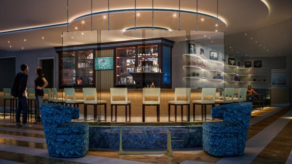 Seventh floor bar rendering of Fairmont Austin.