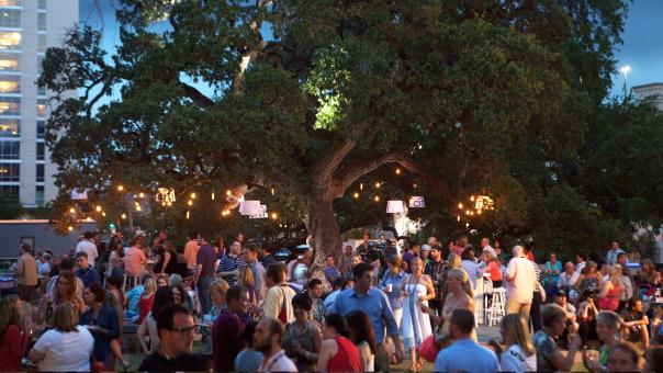 Crowd enjoying Austin Food and Wine Festival at twilight.