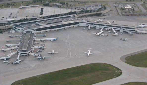 Aerial view of the Greater Rochester International Airport