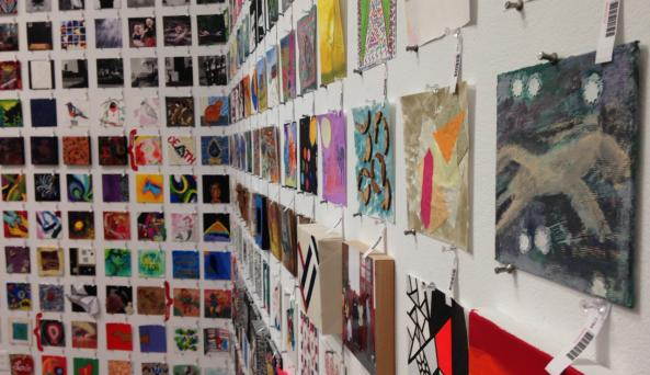 Walls of art from all over the world for the annual 6x6 show