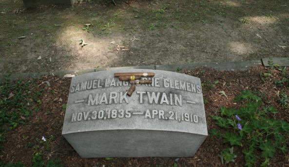 American folk hero, Mark Twain, requested to be buried at Woodlawn Cemetery