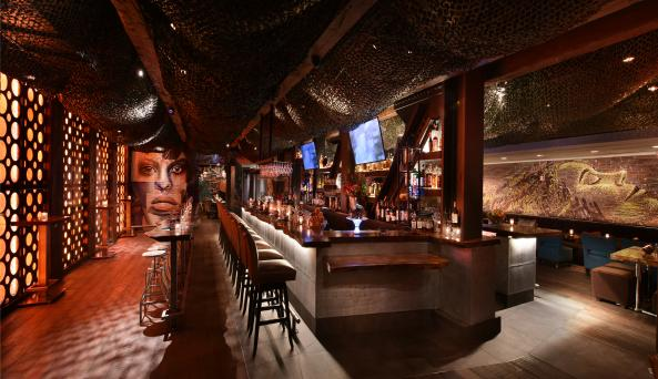 Interior, wide shot of the bar area at The Tuck Room