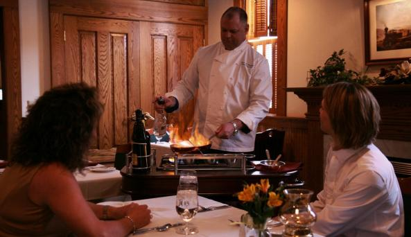 Tableside service at Warfield's Restaurant