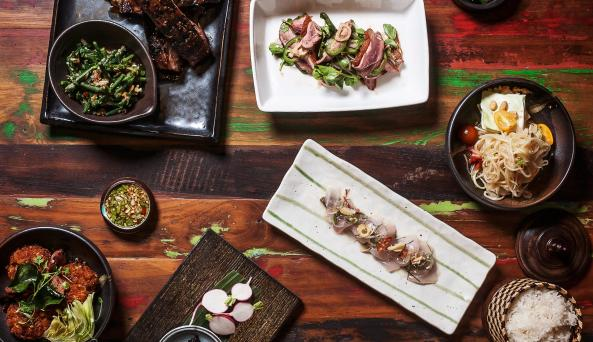 A collection of dishes at khe-yo