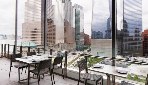 view from the World Center Hotel in lower manhattan
