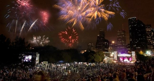 Fireworks in Downtown Houston