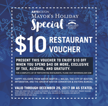 Boston Mayor's Holiday Restaurant Voucher