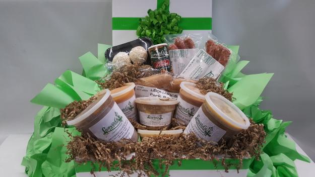 Leonard's Gourment Cajun gift basket ordered from Lake Charles, Louisiana.